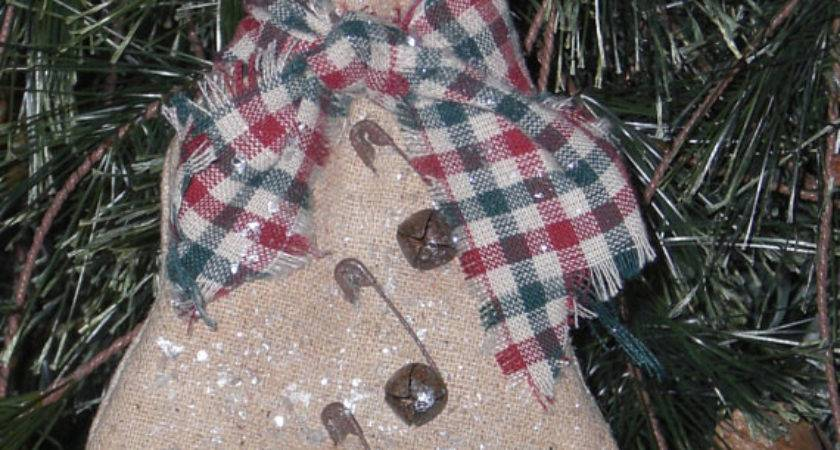 Personalized Christmas Tree Ornament Primitive Snowman Ornie