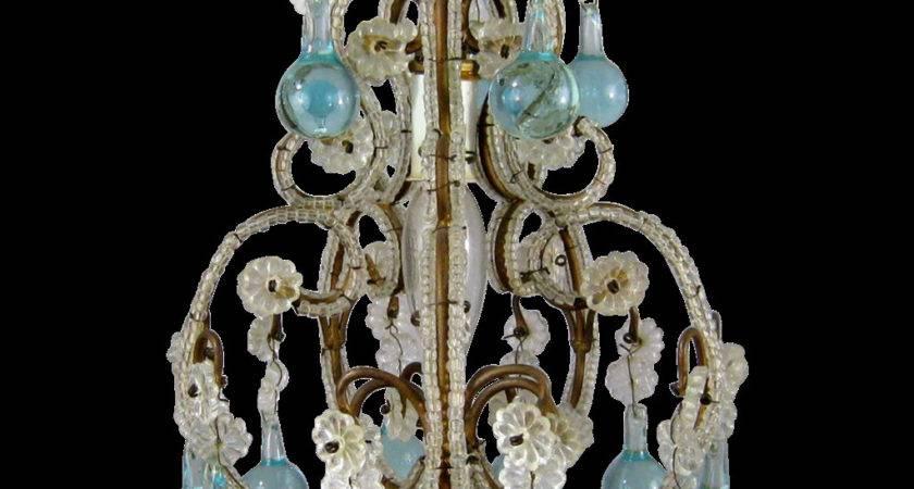 Petite Vintage Beaded Birdcage Chandelier Aqua Blue Prisms