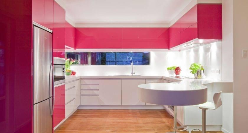 Pink Modern Kitchen Interior Design Ideas