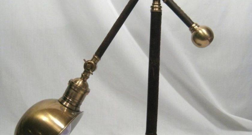 Pottery Barn Adams Leather Brass Task Table Lamp Ebay