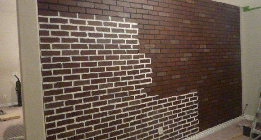 Poured Basement Painted Look Like Brick