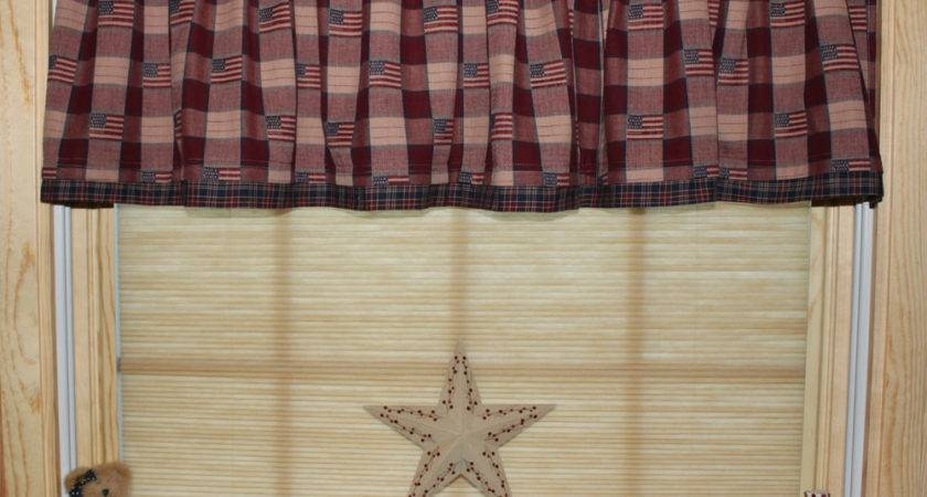 Primitive Americana Country Curtain Valance Ebay