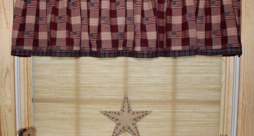 Primitive Americana Country Curtain Window Valance