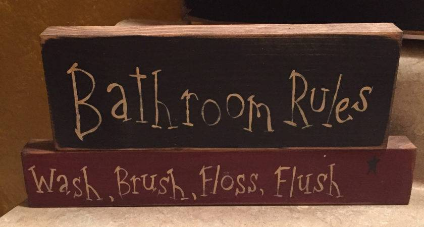 Primitive Bathroom Rules Sign