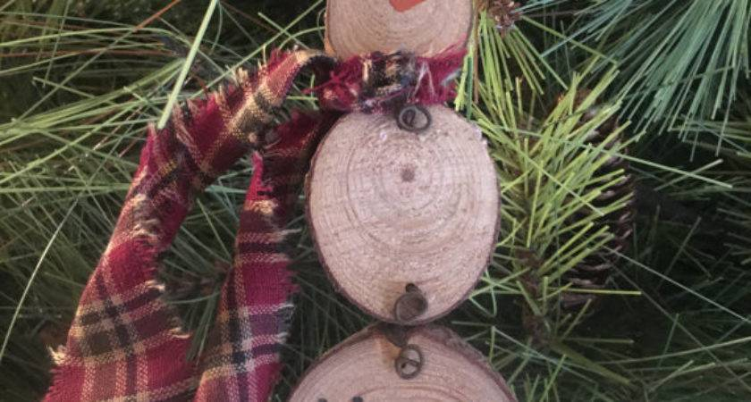 Primitive Christmas Natural Wood Slice Snowman Ornament