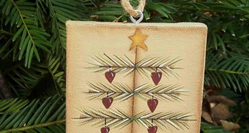 Primitive Christmas Tree Heart Canvas Ornament Handpainted
