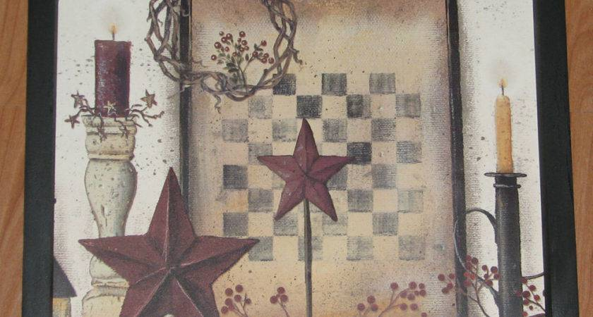 Primitive Country Checker Board Barn Star Berries Candles