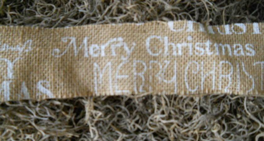 Primitive Country White Merry Christmas Burlap