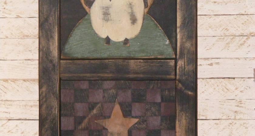 Primitive Decor Framed Sheep Crow Star Theprimplace
