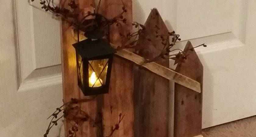 Primitive Decor Lantern Candle Holder Rustic Picket