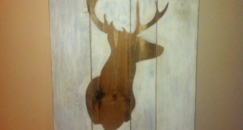 Primitive Distressed Wood Sign Deer Head Beecharmerprim