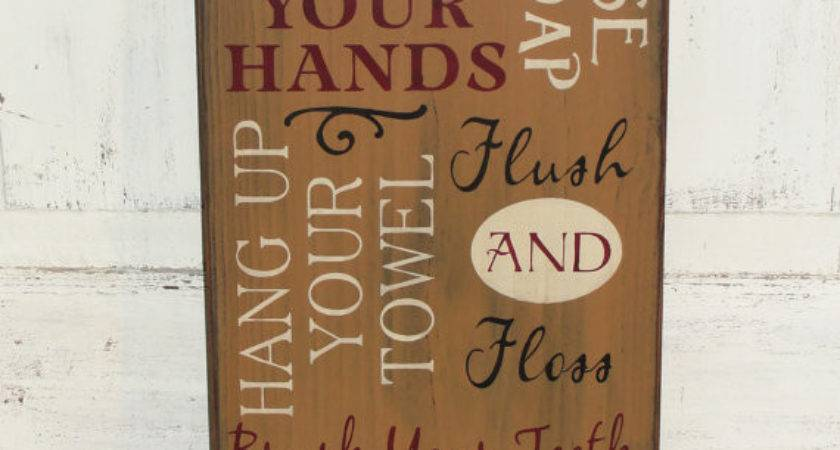 Primitive Hand Painted Wash Your Hands Bathroom Rules