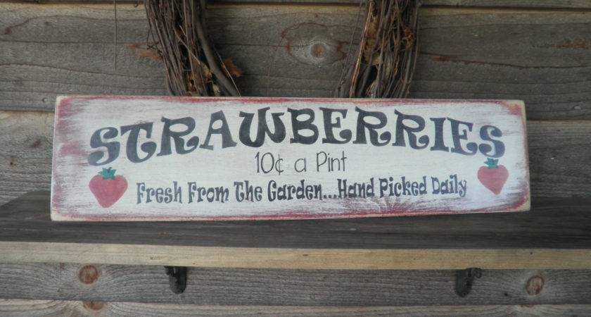 Primitive Home Decor Wood Sign Hand Painted Strawberry
