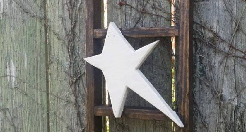 Primitive Kona Stained Ladder Rustic White Star