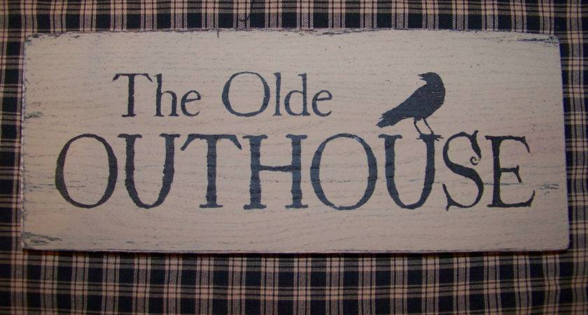 Primitive Olde Outhouse Wood Sign Crow Bathroom Decor