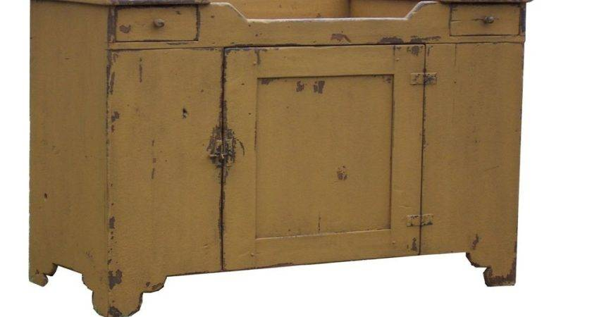Primitive Painted Country Farmhouse Dry Sink Early