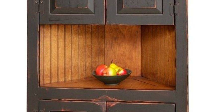 Primitive Rustic Corner Cabinet Pantry Country Kitchen