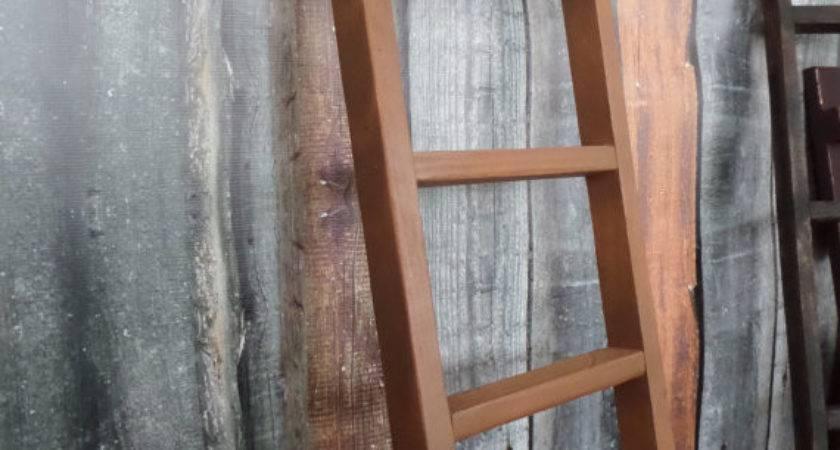 Primitive Rustic Oak Painted Ladder Home Wall Decor