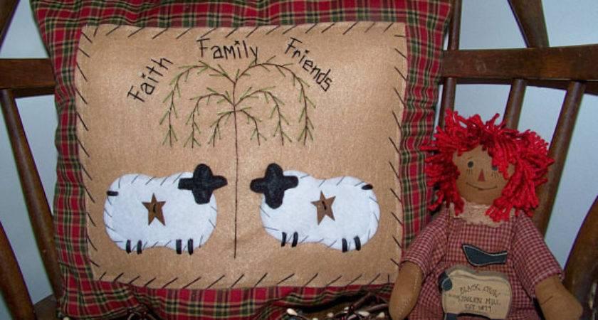 Primitive Sheep Pillow Prim Stitchery Country Decor