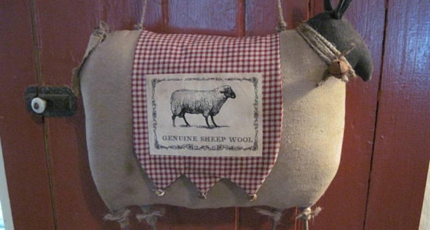 Primitive Sheep Prim Wool Door Decor