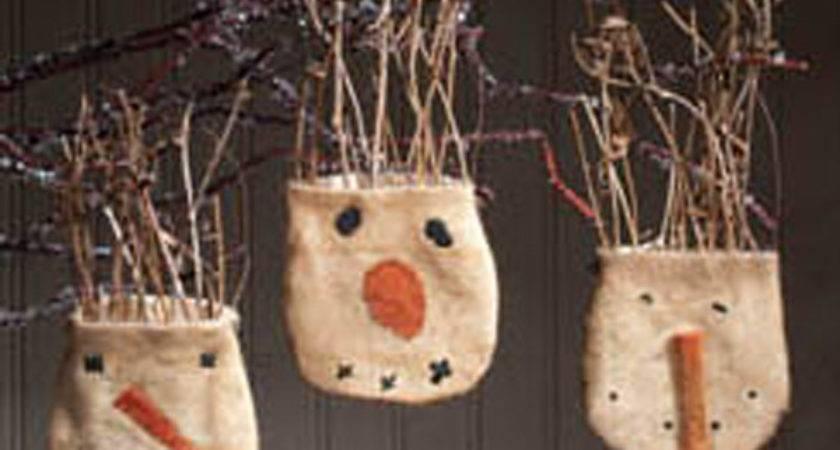 Primitive Snowball Pocket Ornaments