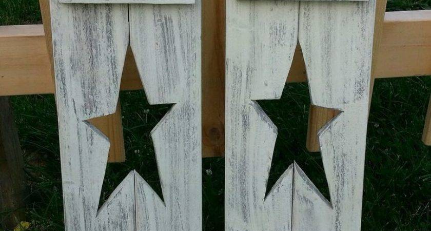 Primitive Wall Hanger Decor Handcrafted Shutters Star