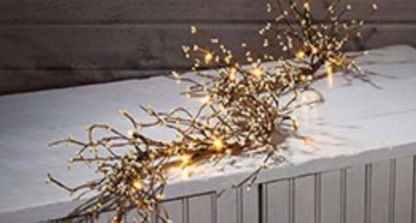 Primitive White Pip Berry Lighted Garland Battery