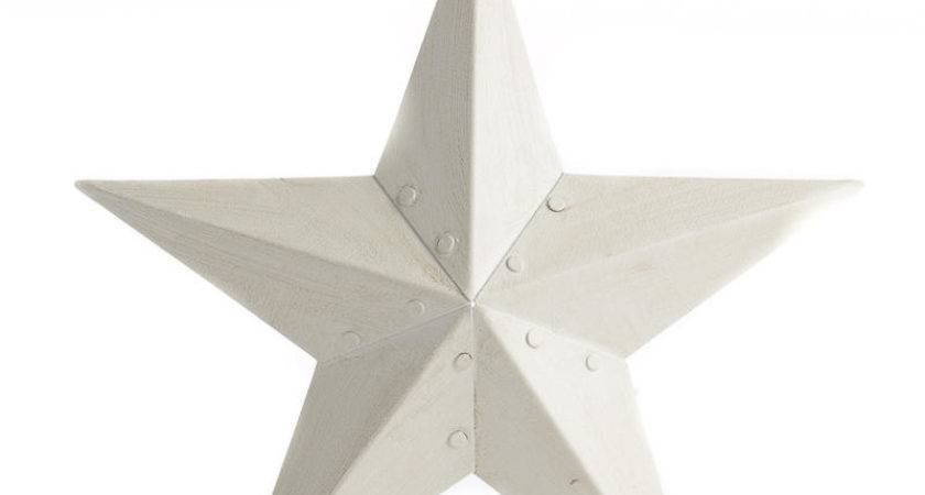 Primitive White Washed Barn Star Ornament Stars