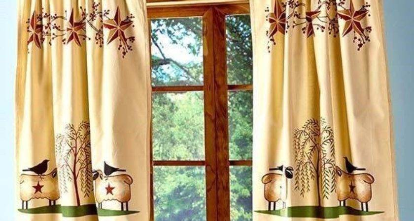 Primitive Willow Window Tier Curtain Set Country Rustic