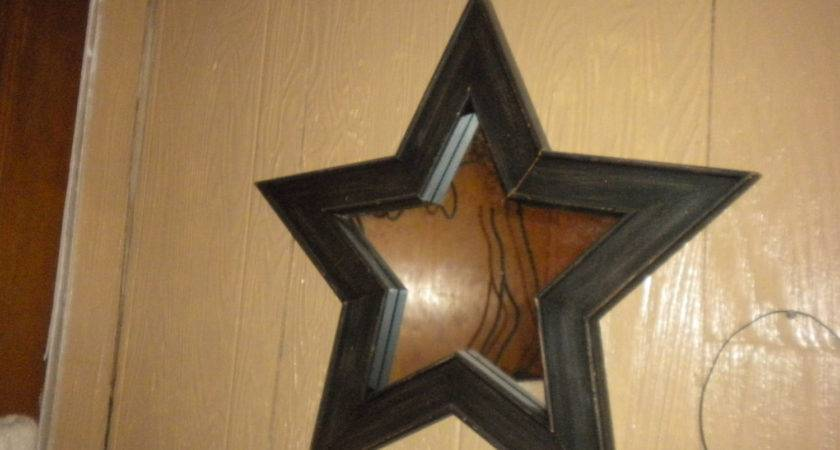 Primitive Wooden Star Mirror Bath Country Decor