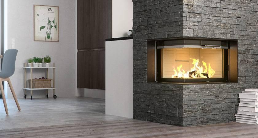 Rais Visio Wood Burning Built Corner Stove Fireplace