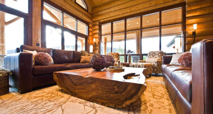 Ranch Log Home Traditional Living Room Vancouver