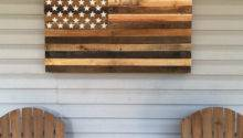 Reclaimed Pallet American Flag Hanging Wall Art Long