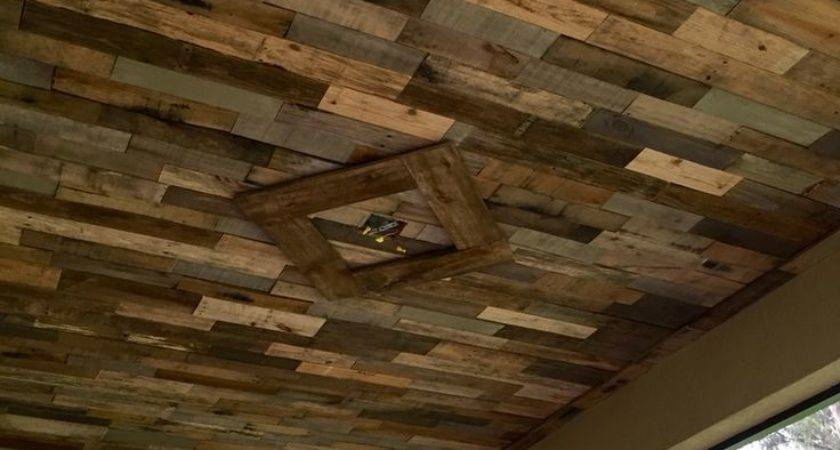Reclaimed Pallet Wood Ceiling Our Lanai Cool Ideas