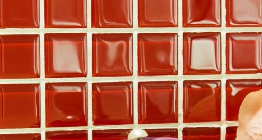Red Glass Backsplash Tile Kitchen Mosaic Designs Cheap