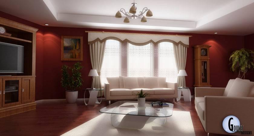 Red White Living Room Interior Design Decobizz