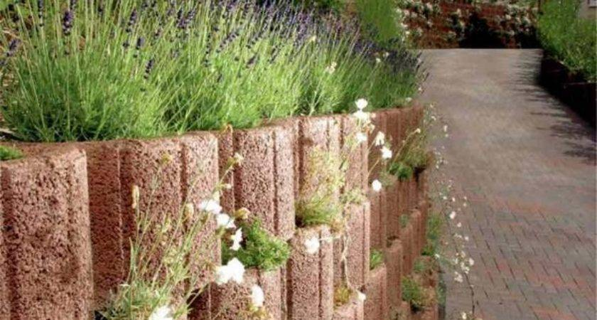 Retaining Wall Ideas Concrete Planters Supporting