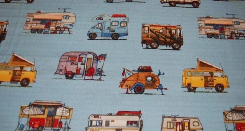 Retro Campers Winnebago Carravan Quilt Fabric