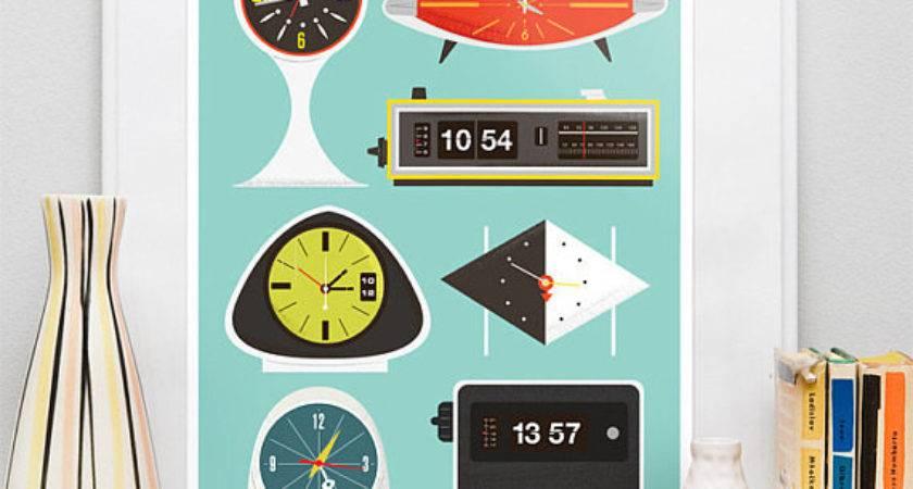 Retro Clock Print Mid Century Poster Eames Era Vintage