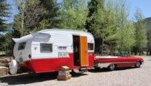 Retro Road Trip Vintage Travel Trailer Towed