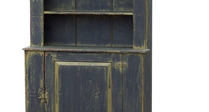 Rustic Hutch Primitive Cabinet Step Back Cupboard Painted