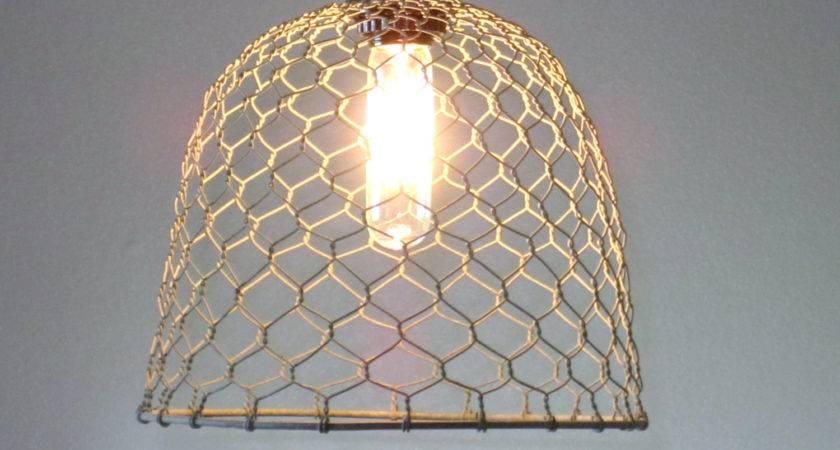Rustic Pendant Lighting Chicken Wire Farmhouse
