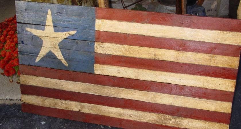 Rustic Star Country Decor Folk Art American Flag Wood