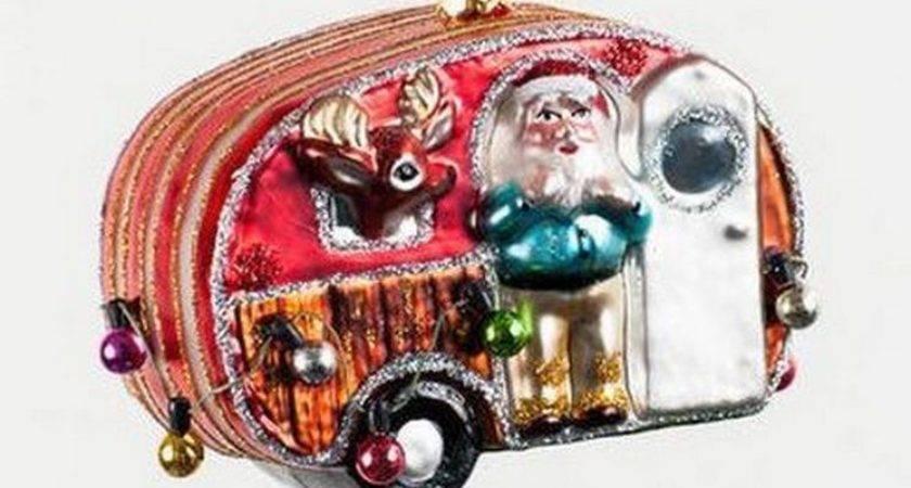 Santas Airstream Camper Reindeer Mercury Glass
