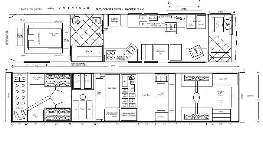 School Bus Conversion Skoolie Floor Plan Drawing