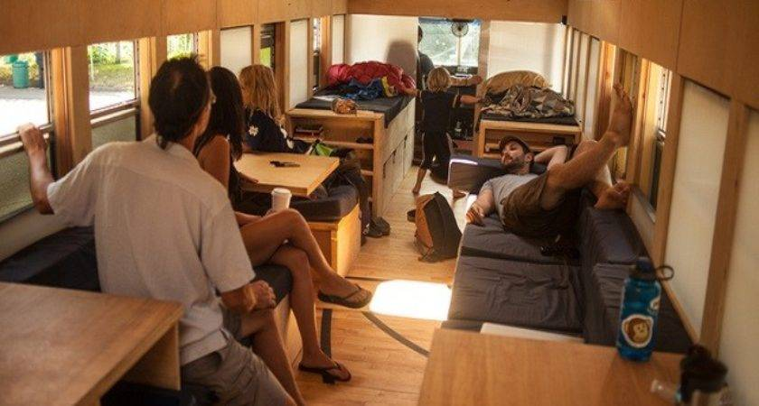 School Bus Converted Into Small Home Architecture