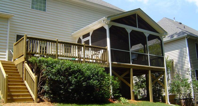 Screen Porch Gable Roof Enjoying Scenery Enclosed