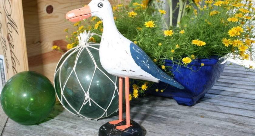 Seagull Bird Rustic Blue Coastal Garden Home