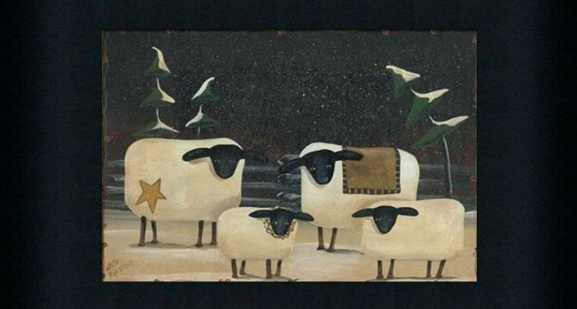 Sheep Flock Primitive Folk Art Country Framed Print