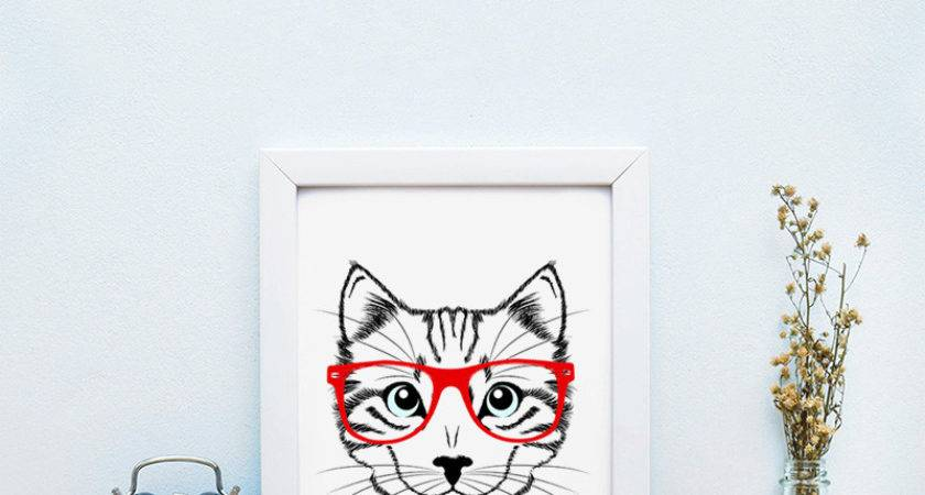 Shop Hipster Cat Red Glasses Canvas Art Print